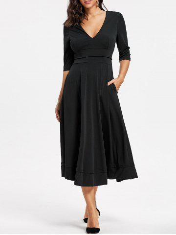 Discount Plunged Tea Length Prom Dress - L BLACK Mobile
