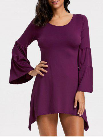Outfit Bell Sleeve Asymmetrical Mini Dress - L PURPLE Mobile