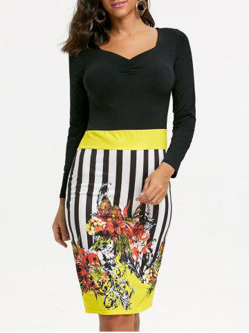 Stripe Floral Bodycon Dress Jaune L