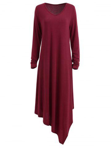 Fancy Long Sleeve Plus Size Maxi Asymmetric Dress - 3XL BORDEAUX Mobile
