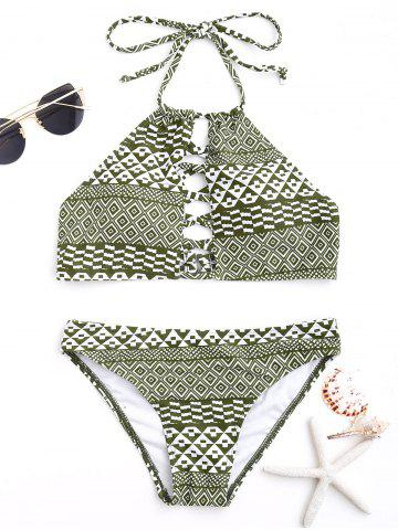Best Tribal Print Halter Bikini Swimwear COLORMIX M