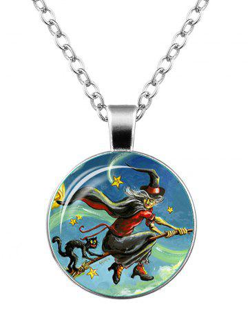 Affordable Devil Halloween Witch Cat Star Necklace SILVER