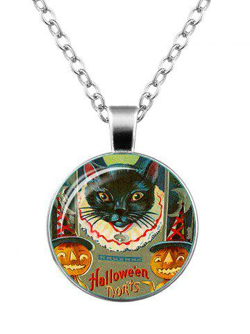 Store Halloween Pumpkin Devil Moon Cat Necklace