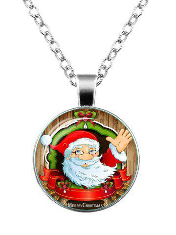 Outfit Merry Christmas Bowknot Teardrop Santa Necklace SILVER