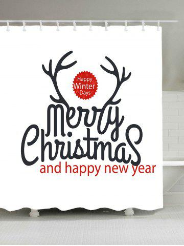 Cheap Waterproof Christmas Letter Print Bath Curtain - W59 INCH * L71 INCH WHITE Mobile