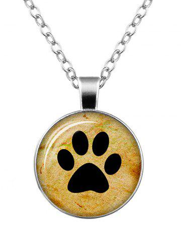 Shop Dog Paw Pattern Charm Round Necklace - SILVER  Mobile