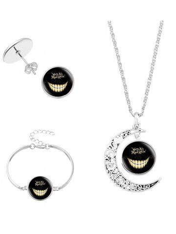Outfits Alice's Evil Smile Moon Necklace Bracelet Earring Set