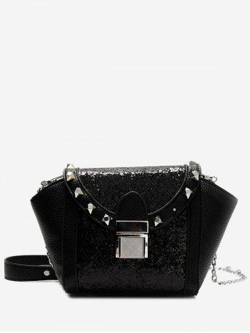 Trendy Metal Rivet Sequin Crossbody Bag - BLACK  Mobile