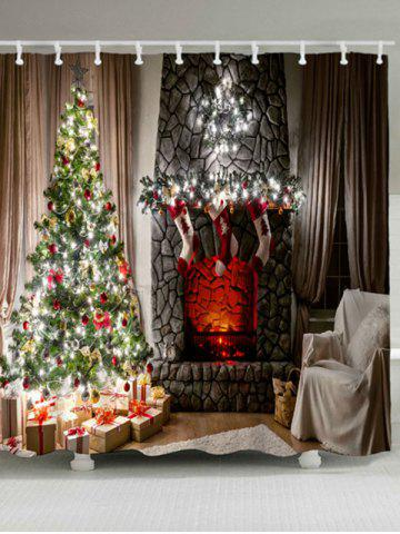 Shop Christmas Fireplace Tree Waterproof Shower Curtain - W59 INCH * L71 INCH COLORMIX Mobile