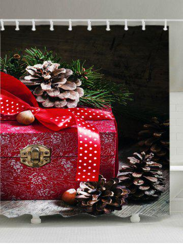 Outfit Christmas Gift Box Print Fabric Waterproof Bathroom Shower Curtain RED W59 INCH * L71 INCH