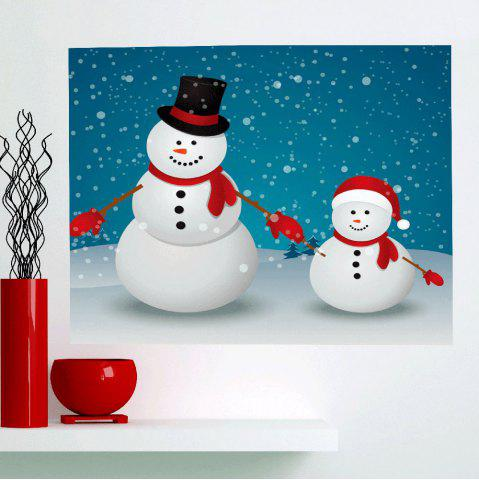 Trendy Multifunction Double Christmas Snowmen Patterned Wall Art Painting SEA BLUE 1PC:24*35 INCH( NO FRAME )