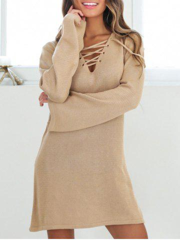 Chic Lace-up Knitted Shift Dress - XL KHAKI Mobile