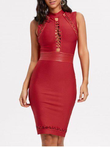 Shops Cut Out Lattice Bodycon Bandage Dress RED L