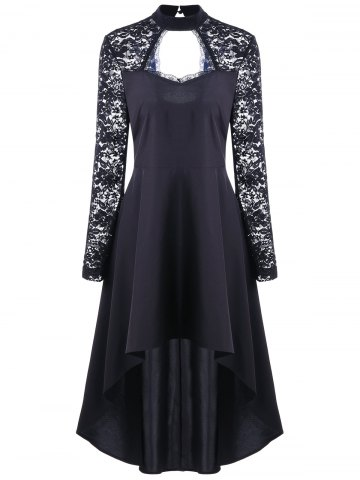 Hot Lace Insert Cut Out High Low Dress - L BLACK Mobile