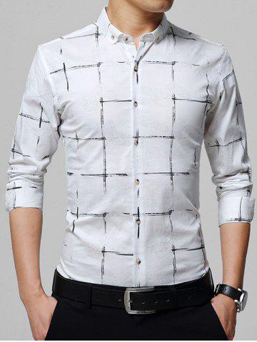 Chemise Checked Casual Down Blanc 5XL