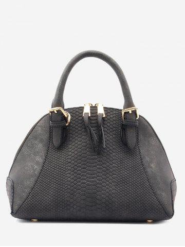 Trendy Buckle Strap Shell Shape Crocodile Pattern Totes - BLACK  Mobile