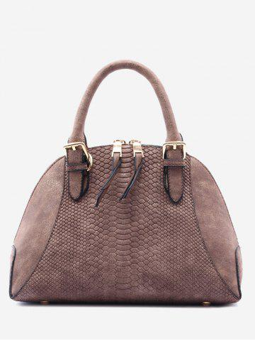Discount Buckle Strap Shell Shape Crocodile Pattern Totes DUN