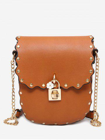 Trendy Rivet Chain Scallop Crossbody Bag - BROWN  Mobile