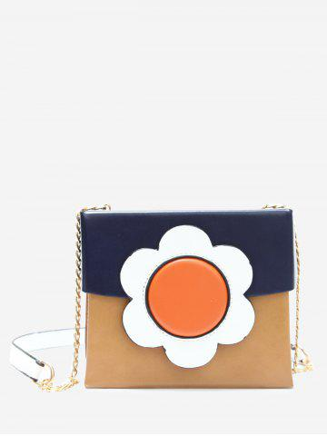 Outfit Color Block Chain Floral Crossbody Bag BLUE