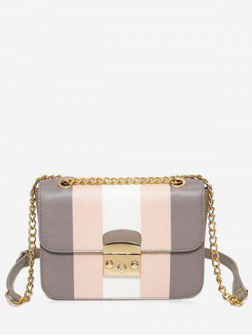 Fancy Faux Leather Chain Color Block Crossbody Bag - GRAY  Mobile