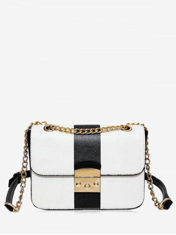 Trendy Faux Leather Chain Color Block Crossbody Bag
