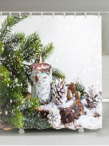 Buy Christmas Tree Snowfield Print Fabric Waterproof Bathroom Shower Curtain - W59 INCH * L71 INCH WHITE Mobile