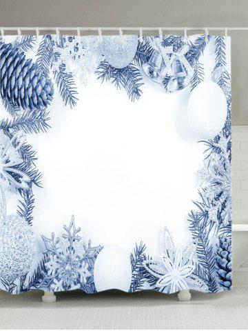 Fancy Christmas Series Print Fabric Waterproof Bathroom Shower Curtain - W71 INCH * L79 INCH WHITE Mobile