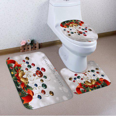 Sale Christmas Baubles Bell Pattern 3 Pcs Bath Mat Toilet Mat COLORMIX