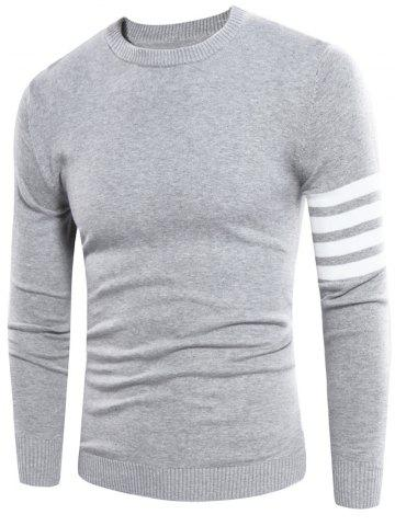 Cheap Crew Neck Striped Pullover Jumper - 3XL GRAY Mobile