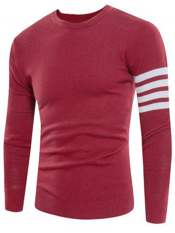 Fancy Crew Neck Striped Pullover Jumper - 3XL DEEP RED Mobile