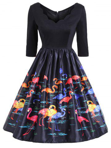 New V Neck Flamingo Print Fit and Flare Vintage Dress - S COLORMIX Mobile