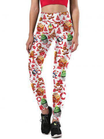 Affordable Ulgy Christmas Tree Cake Party Leggings - M WHITE Mobile