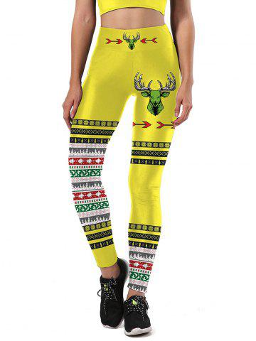 Discount Snowflake Color Block Christmas Tree Leggings - S YELLOW AND BLACK Mobile