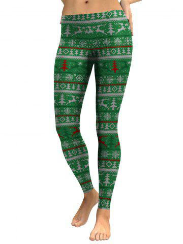 Affordable Elk Snowflake Christmas Tree Leggings - M GREEN Mobile