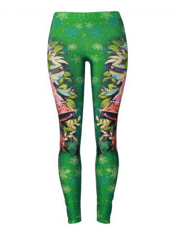 Discount Snowflake Christmas Party Bells Leggings - S GREEN Mobile