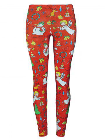Trendy Snowman Angel Christmas Tree Party Leggings - S RED Mobile