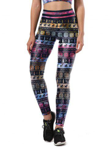 Fashion Christmas Party Snowflake Elk Leggings - L COLORMIX Mobile