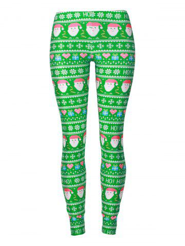 Affordable Snowflake Christmas Gift Santa Claus Leggings COLORMIX XL