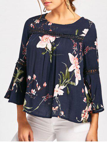 Cheap Floral Print Lace Insert Bell Sleeve Blouse - L BLUE Mobile