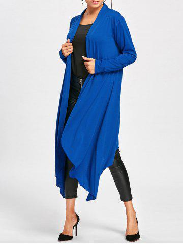 Affordable Maxi Jersey Drape Cardigan BLUE XL