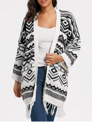Affordable Long Geometric Fringe Sweater Cardigan WHITE ONE SIZE