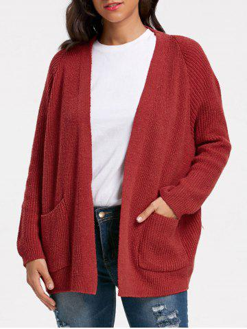 Fashion Poctets Knit Sweater Cardigan - ONE SIZE WINE RED Mobile