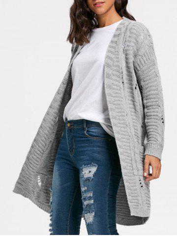 Cheap Poctets Cable Kint Long Sweater Cardigan GRAY ONE SIZE