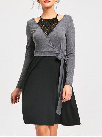 New Crochet Panel Fit and Flare Dress - L BLACK AND GREY Mobile