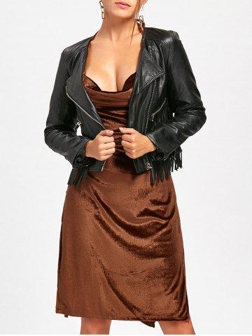Trendy Velvet Slit Backless Halter Dress - XL BROWN Mobile