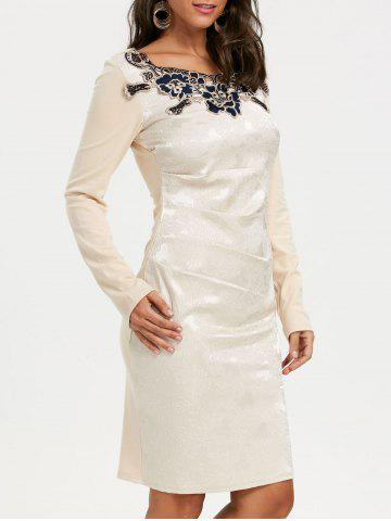 Latest Ruched Long Sleeve Jacquard Bodycon Dress APRICOT M