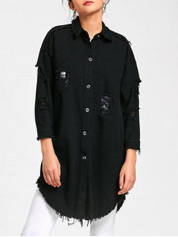 Discount Lucky Frayed Curved Longline Shirt Coat - L BLACK Mobile