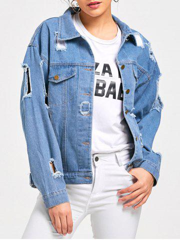 Trendy Button Up Denim Destroyed Jacket LIGHT BLUE M