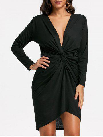 Trendy Low Cut Long Sleeve Twist Front Dress - XL BLACK Mobile