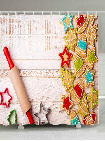 New Christmas Biscuit Wood Print Fabric Waterproof Bathroom Shower Curtain COLORMIX W71 INCH * L79 INCH